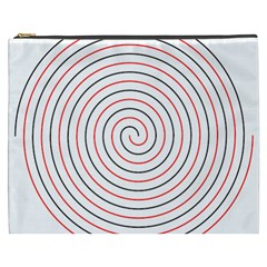 Double Line Spiral Spines Red Black Circle Cosmetic Bag (xxxl)  by Mariart