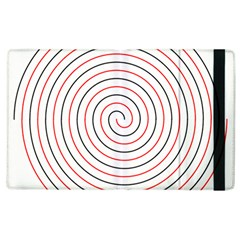 Double Line Spiral Spines Red Black Circle Apple Ipad 2 Flip Case by Mariart
