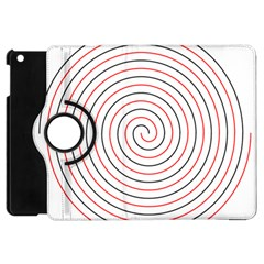 Double Line Spiral Spines Red Black Circle Apple Ipad Mini Flip 360 Case by Mariart