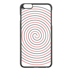 Double Line Spiral Spines Red Black Circle Apple Iphone 6 Plus/6s Plus Black Enamel Case by Mariart