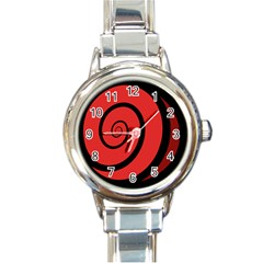 Double Spiral Thick Lines Black Red Round Italian Charm Watch
