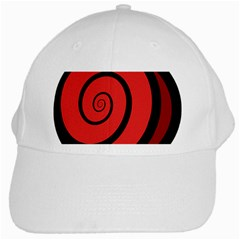 Double Spiral Thick Lines Black Red White Cap by Mariart