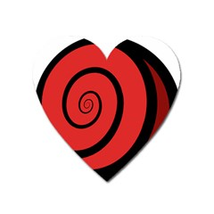 Double Spiral Thick Lines Black Red Heart Magnet by Mariart