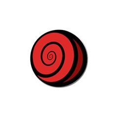 Double Spiral Thick Lines Black Red Golf Ball Marker by Mariart
