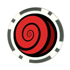 Double Spiral Thick Lines Black Red Poker Chip Card Guard by Mariart