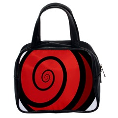 Double Spiral Thick Lines Black Red Classic Handbags (2 Sides)