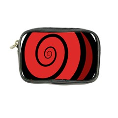 Double Spiral Thick Lines Black Red Coin Purse by Mariart