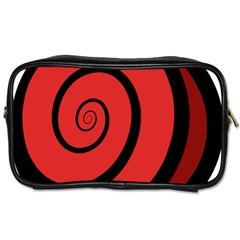 Double Spiral Thick Lines Black Red Toiletries Bags 2 Side by Mariart