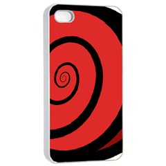 Double Spiral Thick Lines Black Red Apple Iphone 4/4s Seamless Case (white) by Mariart