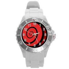 Double Spiral Thick Lines Black Red Round Plastic Sport Watch (l) by Mariart