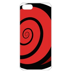 Double Spiral Thick Lines Black Red Apple Iphone 5 Seamless Case (white) by Mariart