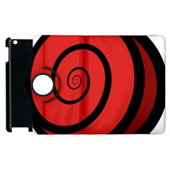 Double Spiral Thick Lines Black Red Apple Ipad 3/4 Flip 360 Case by Mariart