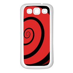 Double Spiral Thick Lines Black Red Samsung Galaxy S3 Back Case (white) by Mariart