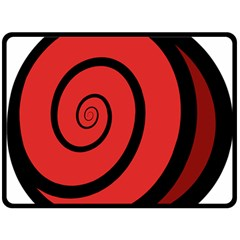 Double Spiral Thick Lines Black Red Double Sided Fleece Blanket (large)
