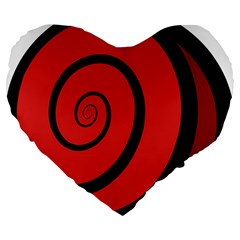 Double Spiral Thick Lines Black Red Large 19  Premium Flano Heart Shape Cushions by Mariart