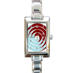 Double Spiral Thick Lines Blue Red Rectangle Italian Charm Watch by Mariart