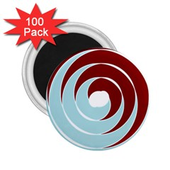 Double Spiral Thick Lines Blue Red 2 25  Magnets (100 Pack)  by Mariart