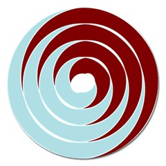 Double Spiral Thick Lines Blue Red Magnet 5  (round)