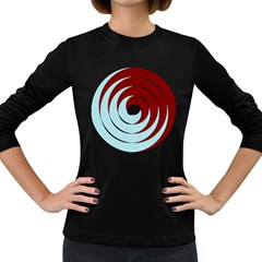 Double Spiral Thick Lines Blue Red Women s Long Sleeve Dark T-shirts by Mariart