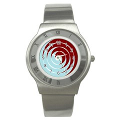 Double Spiral Thick Lines Blue Red Stainless Steel Watch by Mariart