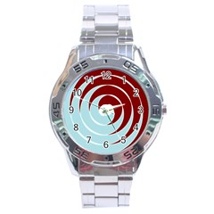 Double Spiral Thick Lines Blue Red Stainless Steel Analogue Watch