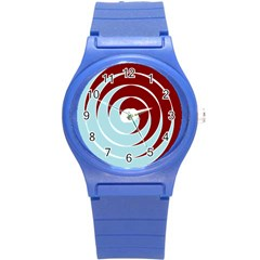 Double Spiral Thick Lines Blue Red Round Plastic Sport Watch (s) by Mariart
