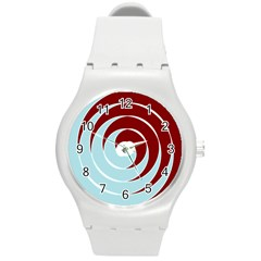 Double Spiral Thick Lines Blue Red Round Plastic Sport Watch (m) by Mariart