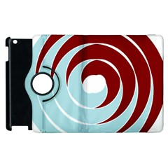 Double Spiral Thick Lines Blue Red Apple Ipad 3/4 Flip 360 Case by Mariart