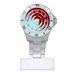 Double Spiral Thick Lines Blue Red Plastic Nurses Watch by Mariart