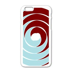 Double Spiral Thick Lines Blue Red Apple Iphone 6/6s White Enamel Case by Mariart
