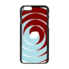 Double Spiral Thick Lines Blue Red Apple Iphone 6/6s Black Enamel Case by Mariart