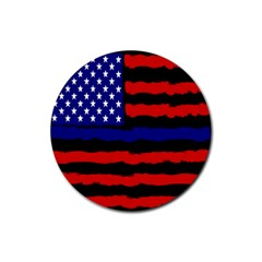 Flag American Line Star Red Blue White Black Beauty Rubber Coaster (round)