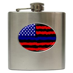 Flag American Line Star Red Blue White Black Beauty Hip Flask (6 Oz) by Mariart
