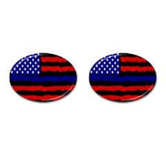 Flag American Line Star Red Blue White Black Beauty Cufflinks (oval) by Mariart