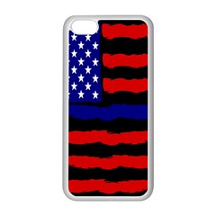 Flag American Line Star Red Blue White Black Beauty Apple Iphone 5c Seamless Case (white) by Mariart