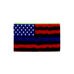 Flag American Line Star Red Blue White Black Beauty Cosmetic Bag (xs) by Mariart