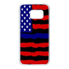 Flag American Line Star Red Blue White Black Beauty Samsung Galaxy S7 White Seamless Case by Mariart