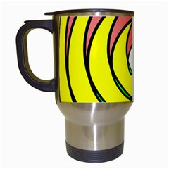 Double Spiral Thick Lines Circle Travel Mugs (white)