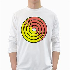 Double Spiral Thick Lines Circle White Long Sleeve T Shirts