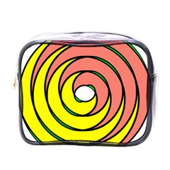 Double Spiral Thick Lines Circle Mini Toiletries Bags by Mariart