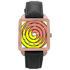 Double Spiral Thick Lines Circle Rose Gold Leather Watch  by Mariart