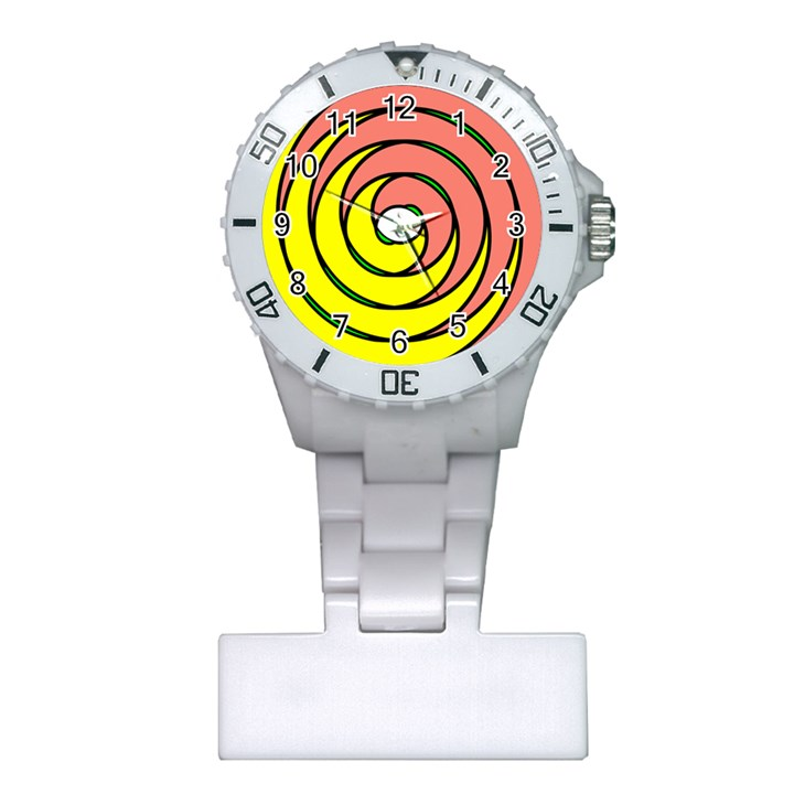 Double Spiral Thick Lines Circle Plastic Nurses Watch