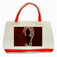 Fan Line Chevron Wave Brown Classic Tote Bag (red) by Mariart
