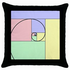 Golden Spiral Logarithmic Color Throw Pillow Case (black) by Mariart