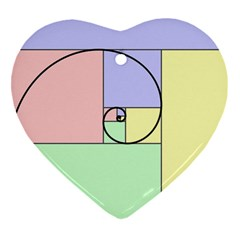Golden Spiral Logarithmic Color Heart Ornament (two Sides) by Mariart