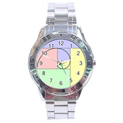 Golden Spiral Logarithmic Color Stainless Steel Analogue Watch by Mariart