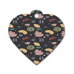 Funky Pattern Polka Wave Chevron Monster Dog Tag Heart (one Side) by Mariart