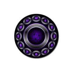 Digital Celtic Clock Template Time Number Purple Magnet 3  (round) by Mariart