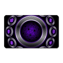 Digital Celtic Clock Template Time Number Purple Magnet (rectangular) by Mariart