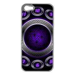 Digital Celtic Clock Template Time Number Purple Apple Iphone 5 Case (silver) by Mariart